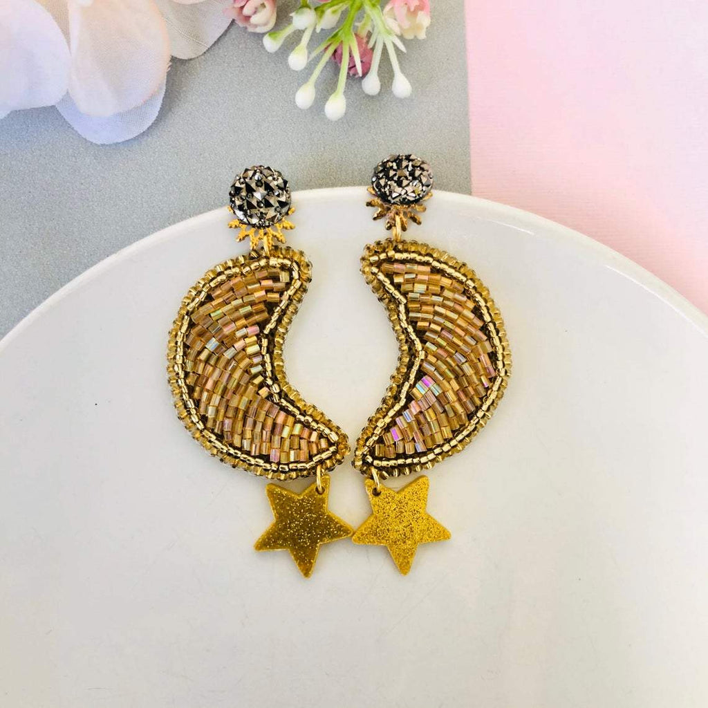 Beaded Gold Moon with acrylic Star dangling earrings - Shinedesignandshop
