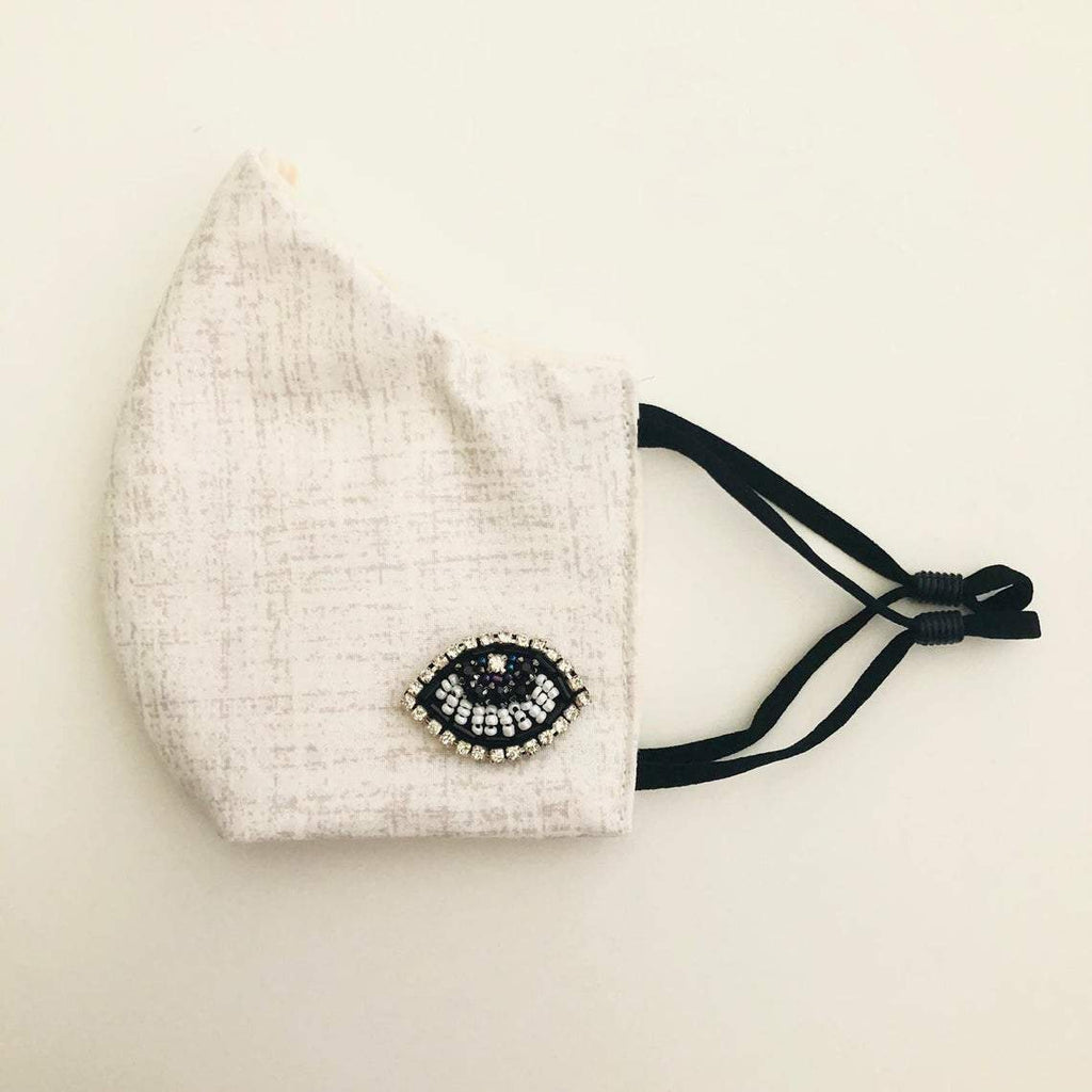 Clear face mask with beaded evil eye and filter attached - Shinedesignandshop