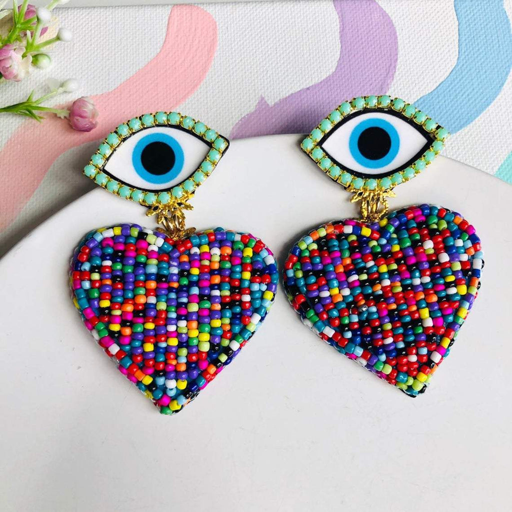 Beaded multicolored Heart chandelier earrings with turquoise evil eye stud - Shinedesignandshop