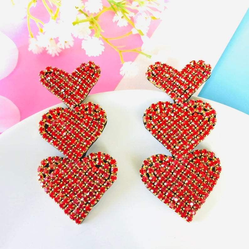 Shiny red heart chandelier statement earrings - Shinedesignandshop