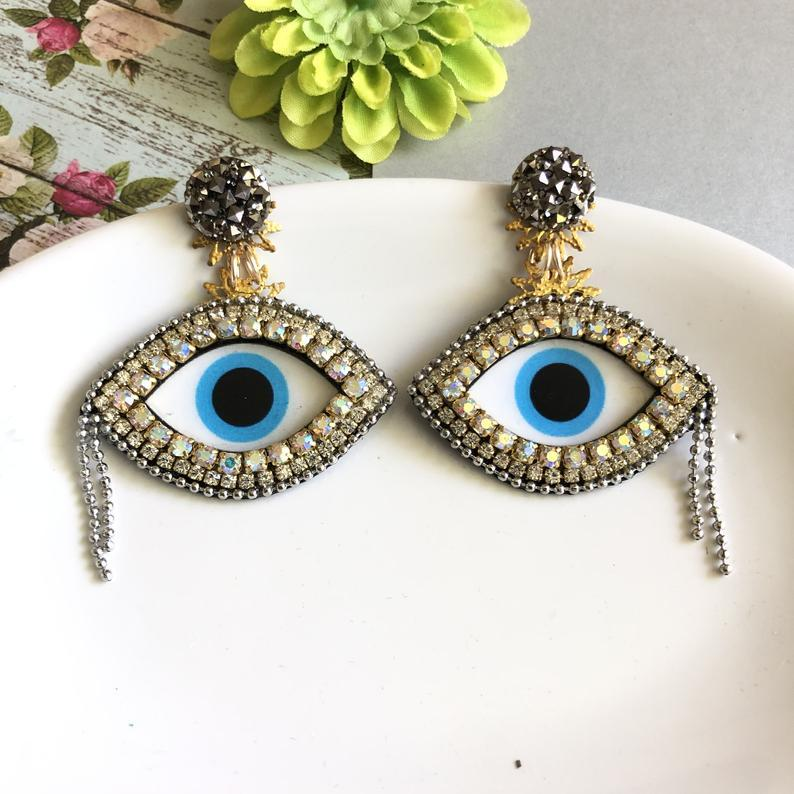 Small Evil Eye chandelier statement earrings - Shinedesignandshop