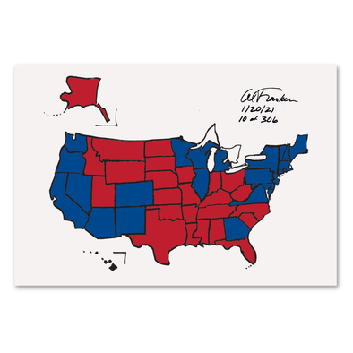 Autographed, Hand-Drawn 2020 Electoral College Map