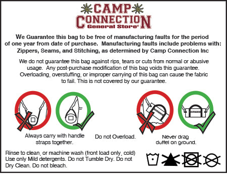 Camp Connection Duffel Care Tag