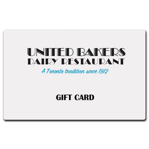 United Bakers $25 Physical Gift Card