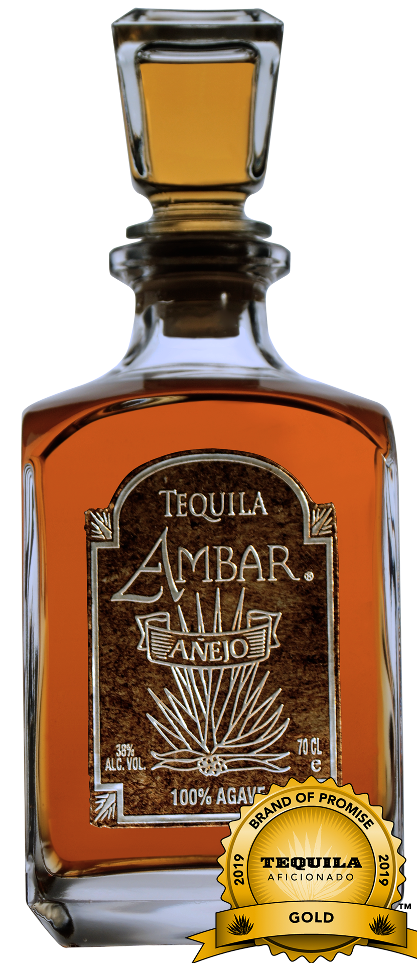 Tequila Ambar Ultra-Premium 100% Highland Agave, Anejo, awarded a Gold Medal.