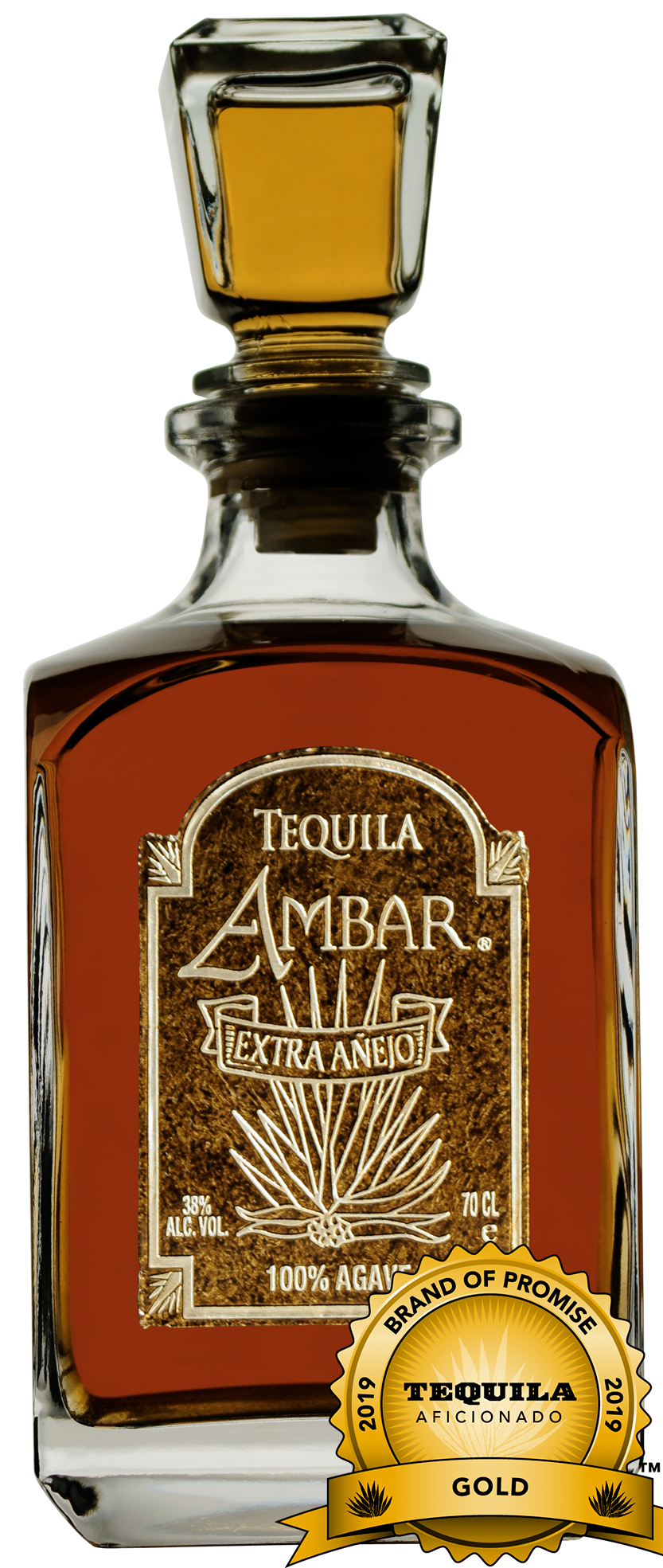 Tequila Ambar Ultra-Premium 100% Highland Agave, Extra Anejo, awarded a Gold Medal.