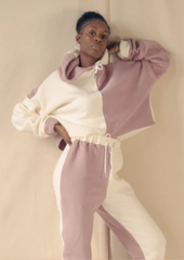 Fullalove Elissa Tracksuit. White and pink contrast.