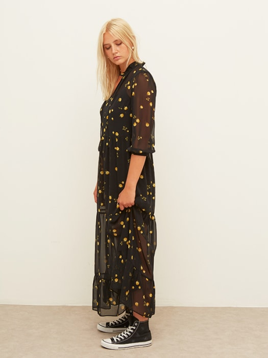 Black and Yellow Floral Elin Maxi Dress