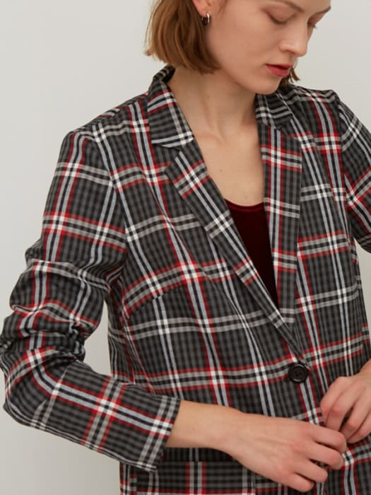 Grey and Red Check Linda Blazer