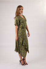 Load image into Gallery viewer, Green Cheetah Midi Dress