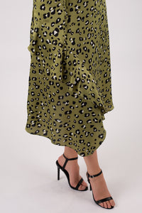 Green Cheetah Midi Dress