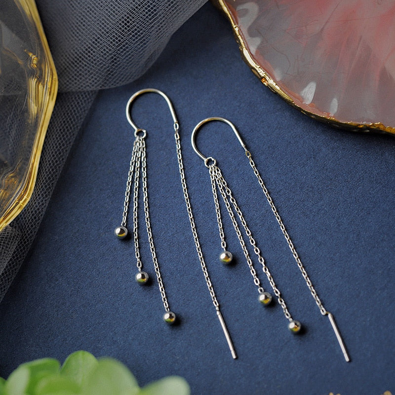 Triple Drop Tassel Earrings