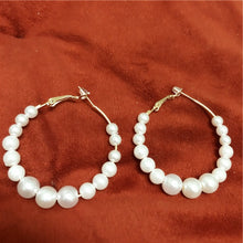 Load image into Gallery viewer, White Pearl Hoop Earrings