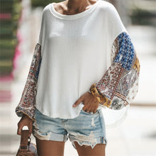 Load image into Gallery viewer, Loose Lantern Sleeve Chiffon Patchwork Jumper