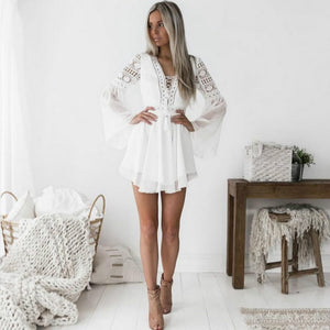 Hollow Out Lace V-neck Chiffon Dress