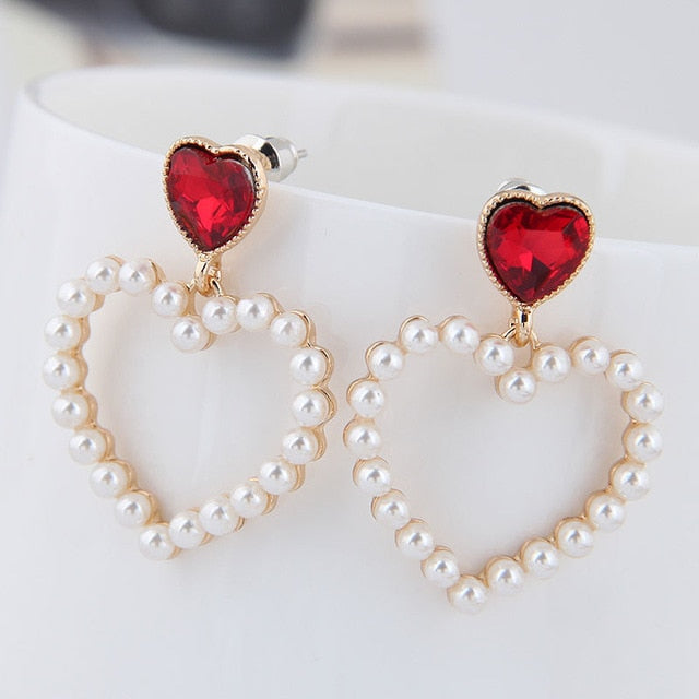 Red Heart Pearl Earrings