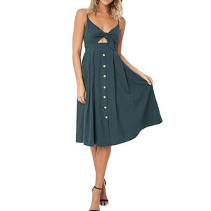 V-Neck Bow-Knot Sling Strap Dress