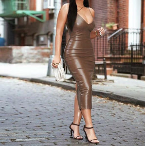 Leather Slit Dress