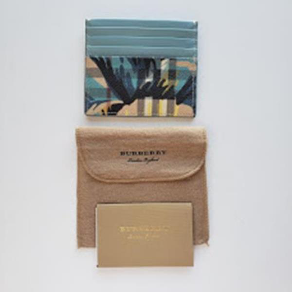 Burberry Flower Check Leather Two-Tone Card Case