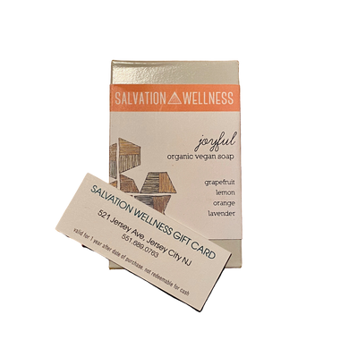 1 hour massage gift card with soap salvation wellness