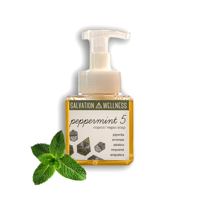 peppermint 5 liquid soap front salvation wellness vegan organic jersey city