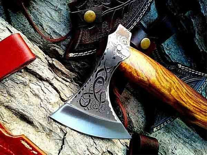 VIKING FORGED CUSTOM HANDMADE AXE BATTLE READY CAMPING AXE ANNIVERSARY GIFT FOR HIM/HUSBAND