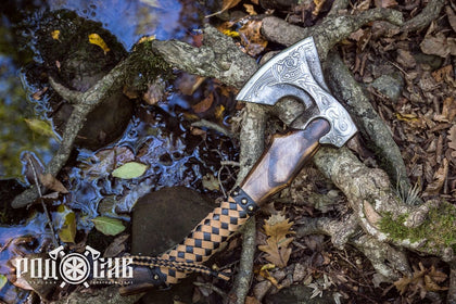 VIKING FORGED AXE NORSE DRAGON CUSTOM HANDMADE CAMPING THROWING AXE
