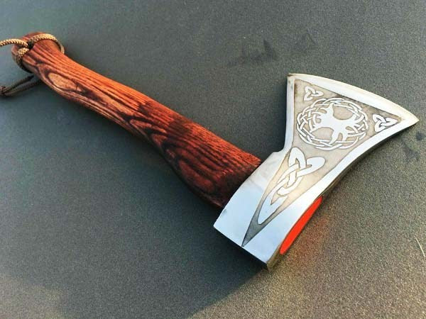 FORGED VIKING AXE THROWING, CUSTOM HANDMADE BATTLE READY CAMPING AXE - TREE OF LIFE