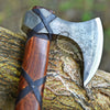 FORGED STEEL VIKING AXE WITH WOOD HANDLE LEATHER AND CUSTOM SHEATH