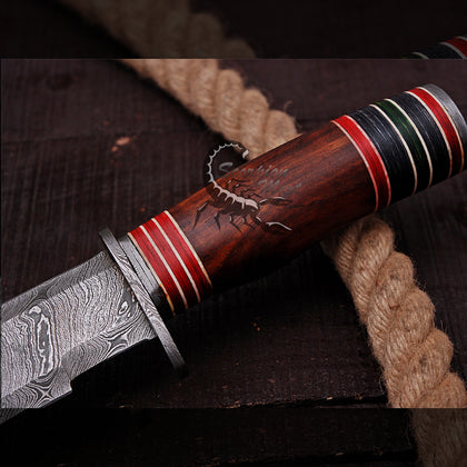 FORGED CUSTOM HANDMADE DAMASCUS STEEL BOWIE KNIFE WITH ROSEWOOD HANDEL