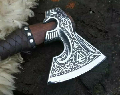 CELTIC NORSE VIKING VALKNUT FORGED AXE SHARP CRAFT BATTLE READY CAMPING HATCHET TOOL BEST GIFT FOR MEN