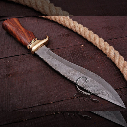 DAMASCUS HANDEMADE | KUKRI BLADE | HUNTING KNIFE | LEATHER SHEET