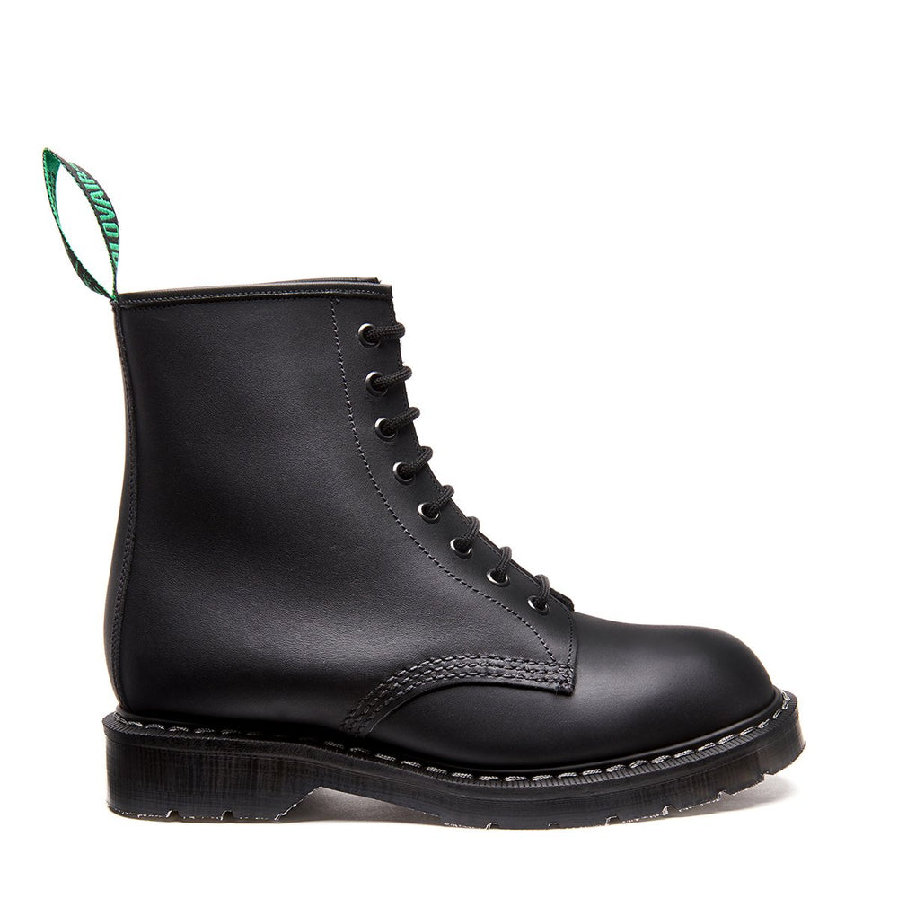 Black Greasy Shearling Lined 8 Eye Derby boot