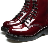 Cherry Red Patent 8 Eye Derby Boot