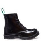 Black Hi-Shine 8 Eye Steel Toe Derby Boot