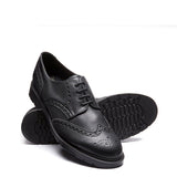 Black Vegan Grain Gibson Brogue Shoe