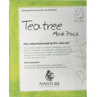 NAISTURE PREMIUM FACIAL FACE MASK SHEET PACK : TEA TREE (1BOX=5PC)