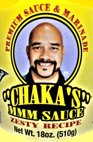 6 PACK - CHAKA'S MMM SAUCE ZESTY ALL NATURAL MARINADE 18oz GLASS BOTTLE