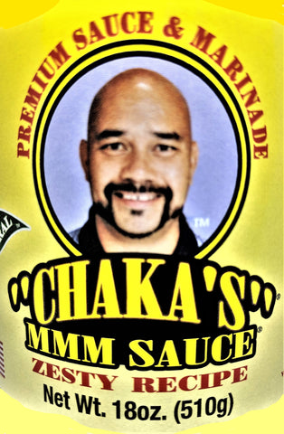 3 PACK - CHAKA'S MMM MARINADE SAUCE SAMPLE PACK (2) ORIGINAL ALL NATURAL 18oz and (1) ZESTY ALL NATURAL 18oz GLASS BOTTLES