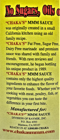 1 PACK - CHAKA'S MMM SAUCE ZESTY ALL NATURAL MARINADE 18oz GLASS BOTTLE