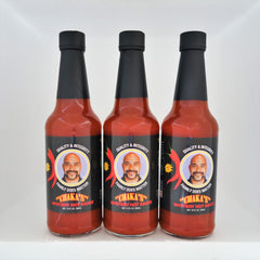 3 PACK - CHAKA'S ALL NATURAL NEW MYSTERY HOT SAUCE 10oz GLASS BOTTLE. THIS HOT SAUCE IS AMAZING, YOU MUST TRY.