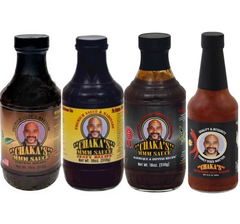 CHAKA'S SAMPLER All Natural Sauce  (2) MARINADES, (1) BBQ Sauce & (1) HOT SAUCE