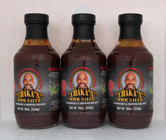 3 PACK - CHAKA'S ALL NATURAL BBQ, DIPPING & GRILLING SAUCE 18oz GLASS BOTTLES. AMAZING FLAVOR - WOW