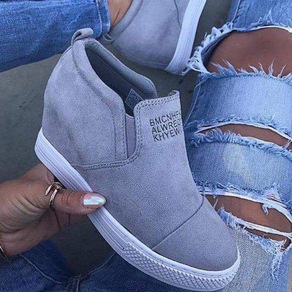 Mokoshoes Letter Slip On Wedge Sneakers
