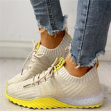 Mokoshoes Colorblock Knitted Breathable Lace-Up Sneakers