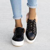 Mokoshoes Trendy Fur Trimmed Sneakers