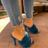 Mokoshoes Suede Fashion Fur High Heel Sandals