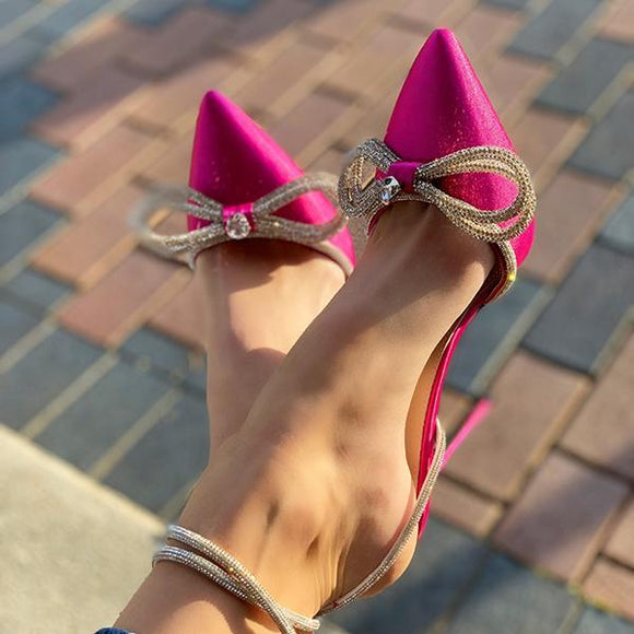 Mokoshoes Windsor Satin Bow Sandals Stiletto Heels