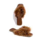 Mokoshoes Luxe Lounge Square Toe Fur Comfy Slippers