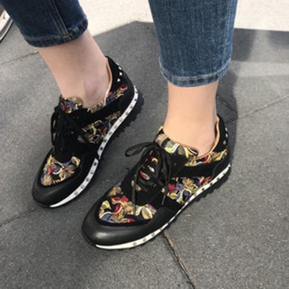 Mokoshoes Cute Patterned Fabric Flat Sneakers